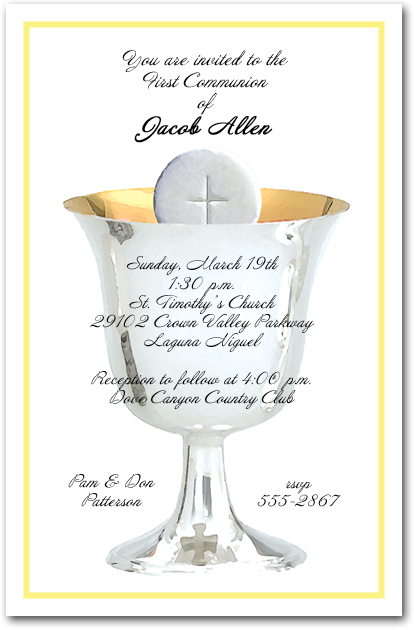 yellow border silver chalice first communion invitations