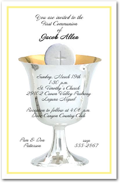 Yellow border silver chalice first communion invitations stopboris Choice Image