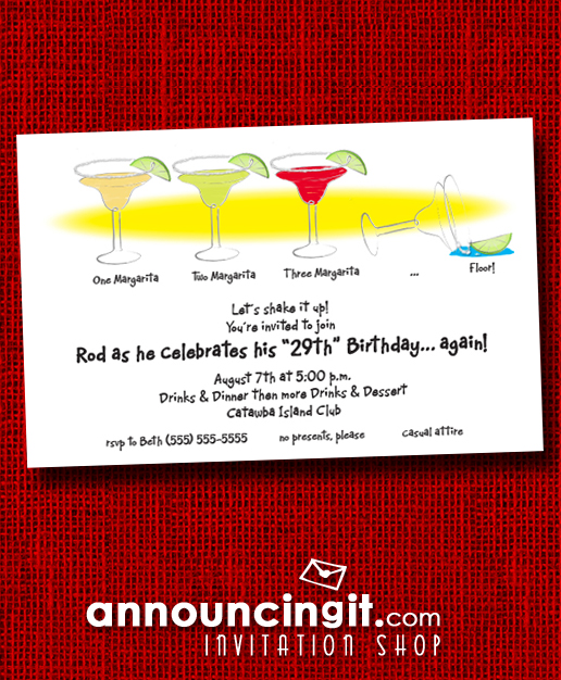 1-2-3-Floor Margaritas Cinco de Mayo Party Invitations | See our entire collection at Announcingit.com