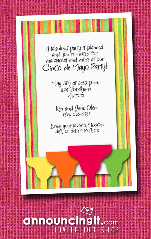 Margaritas on Bright Stripes Cinco de Mayo Party Invitations | See the entire collection at Announcingit.com