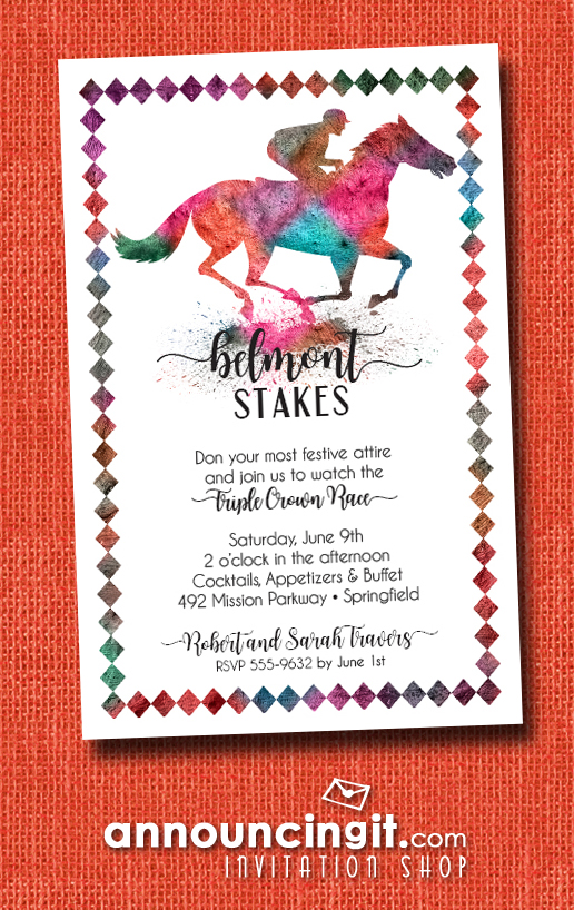 Painted Race Horse Belmont Stakes Party Invitations at Announcingit.com