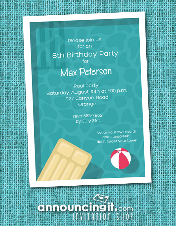 Cool Pool Swimming Party Invitations at Announcingit.com