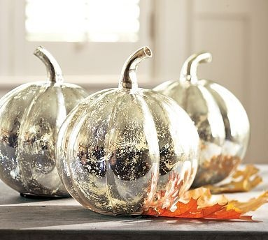 Fall Decorating with Antique Mercury Glass Pumpkins