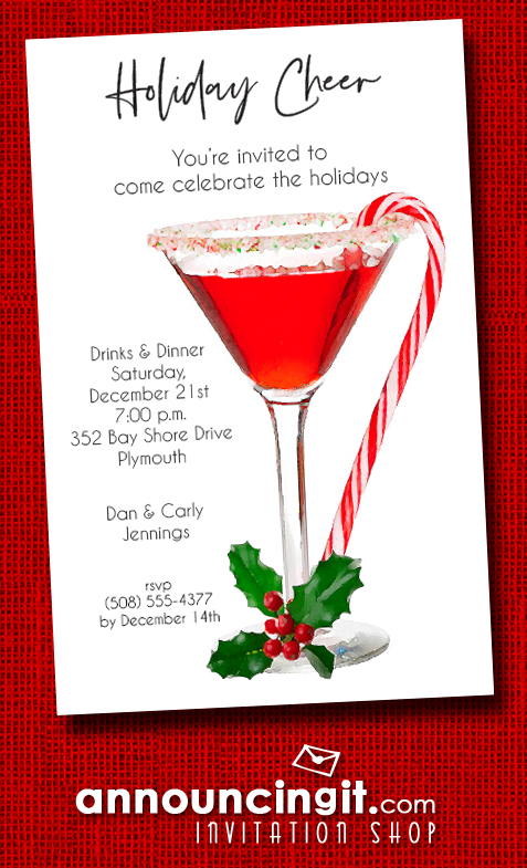 Candy Cane Martini Holiday Party Invitations at Anniouncingit.com