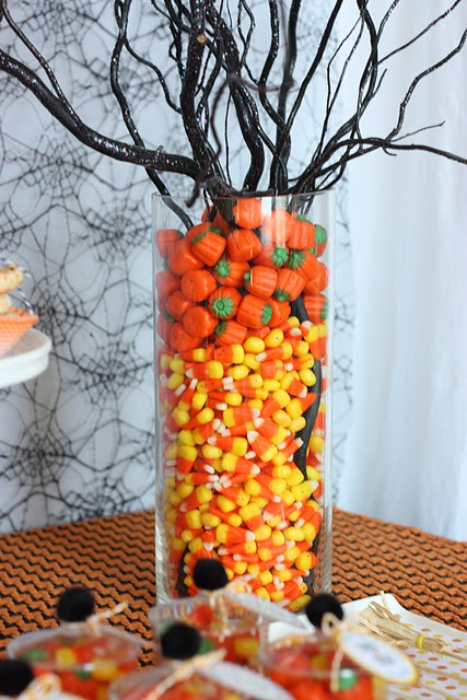 Candy corn centerpiece for halloween