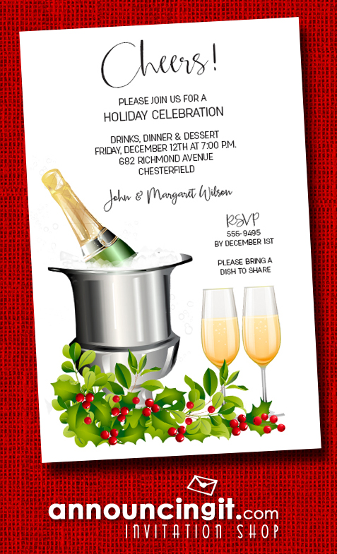 Champagne Bucket and Holly Christmas Holiday Invitations at Announcingit.com