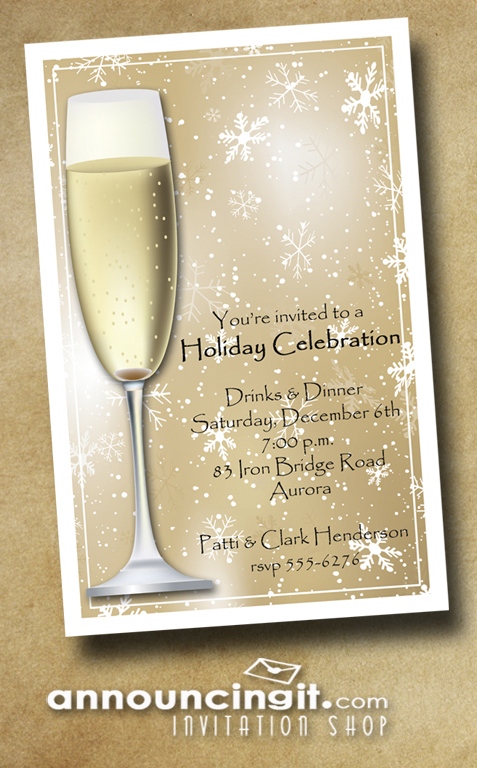 Champagne on Gold Snowflakes Holiday Christmas Party Invitations at Announcingit.com