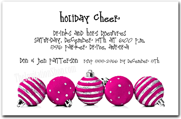 Silver & Hot Pink Ornaments Holiday Party Invitations