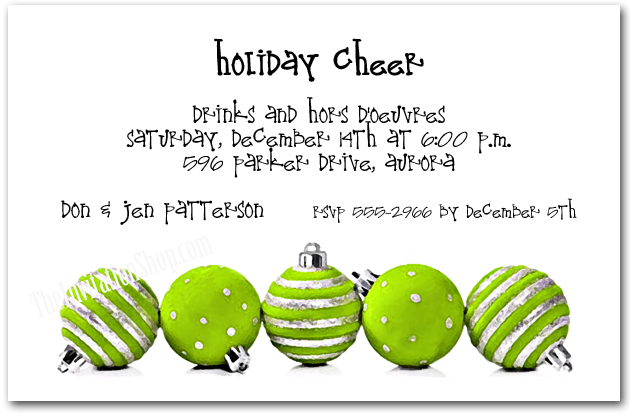 Silver & Lime Ornaments Holiday Party Invitations