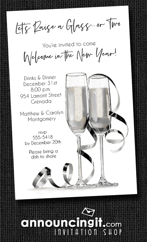 Noir Champagne & Streamers New Year's Eve Invitations at Announcingit.com