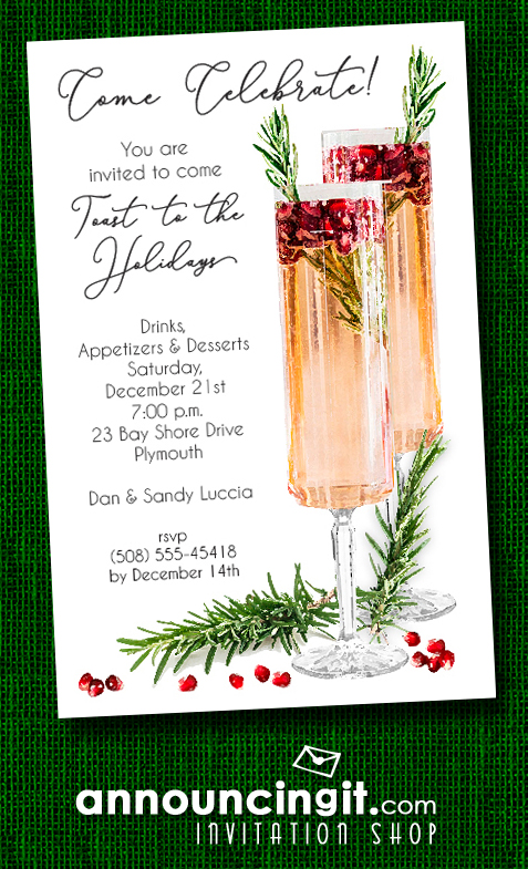 Pomegranate Rosemary Spritzer Holiday Christmas Party Invitations at Announcingit.com