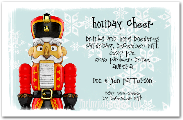 Red Nutcracker Holiday Party Invitations