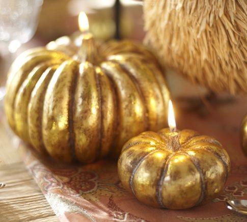 Fall Decorating Gold Pumpkin Candles