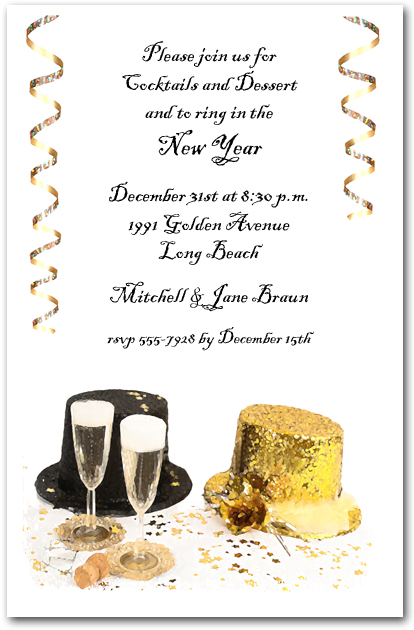 Top Hats New Year's Eve Party Invitations
