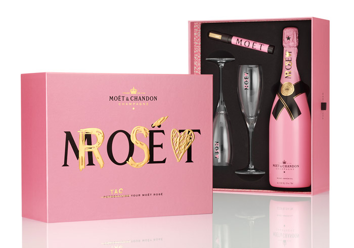 Pink Boxed Moet & Chandon Rose Champagne with Gold Pen