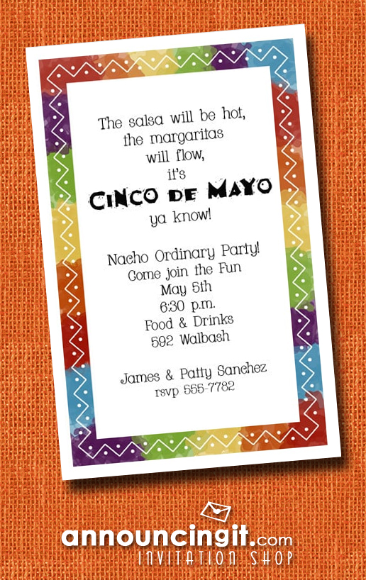 Zigzag Mexican Fiesta Party Invitations | See our entire invitation collection at Announcingit.com