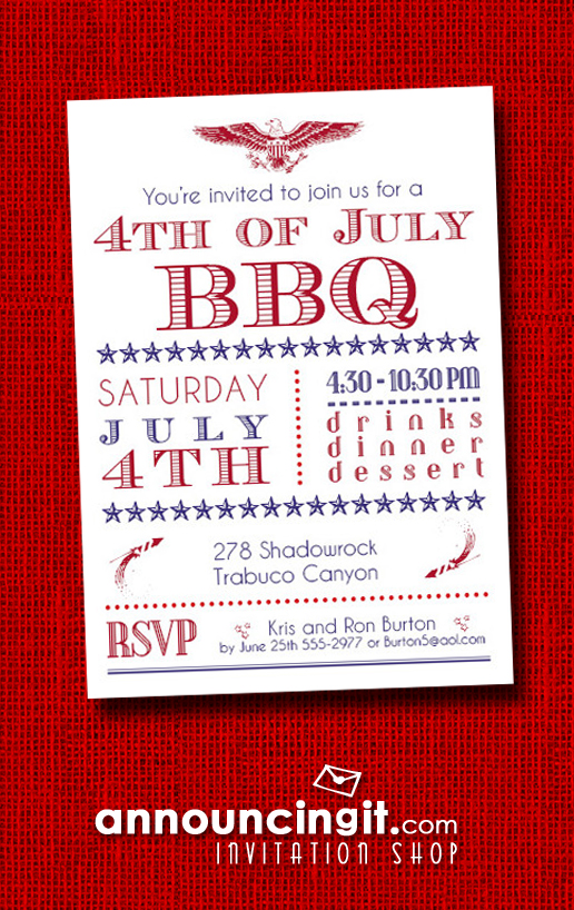 4th of July BBQ Party Invitations at Announcingit.com