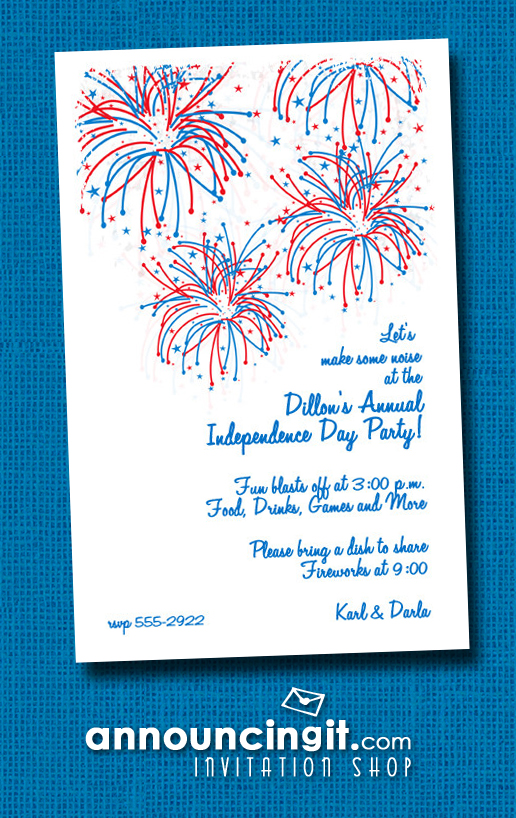Painted Sky Patriotic Fireworks Party Invitations at Announcingit.com
