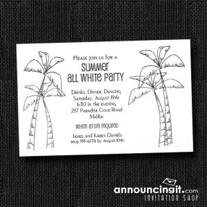 Chic Palm Trees Summer All White Party Invitations