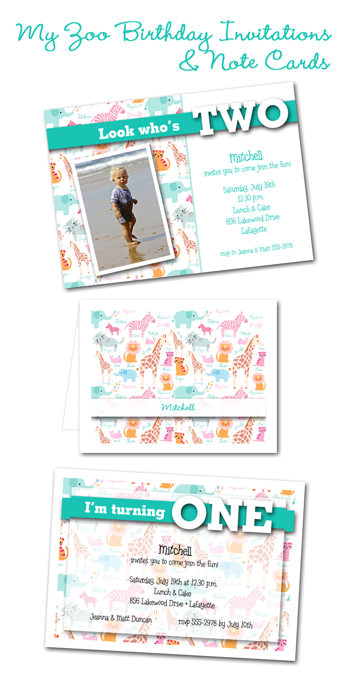 Little Boy Zoo Birthday Party Invitations