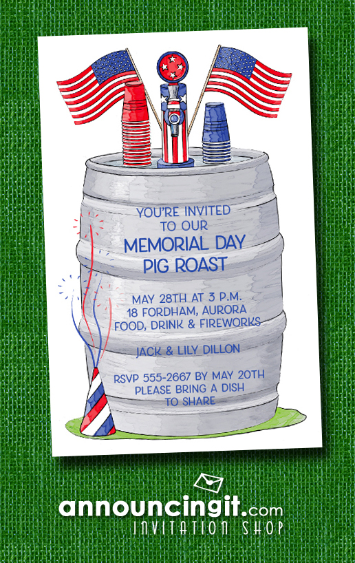 Patriotic 4th of July Beer Keg Party Invitations at Announcingit.com