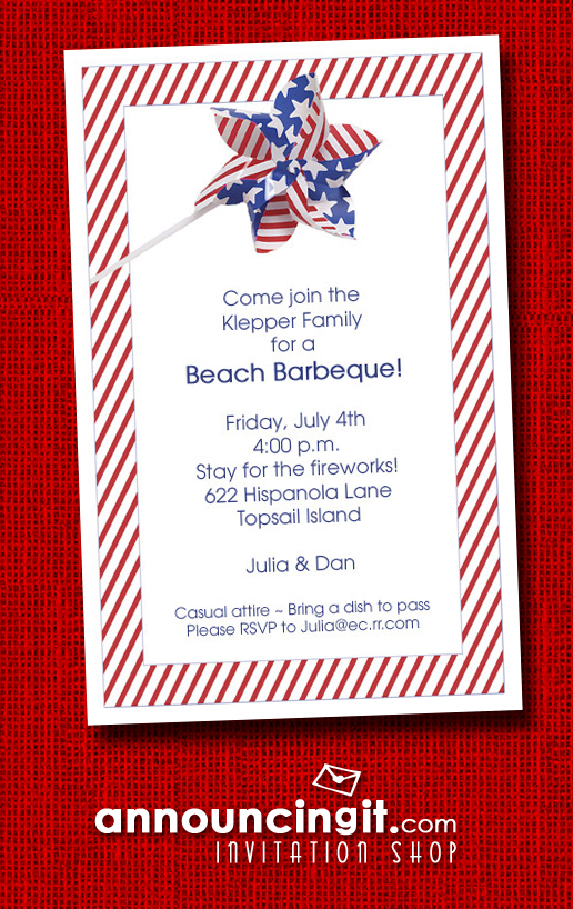 Patriotic Stars and Stripes Pinwheel Party Invitations at Announcingit.com