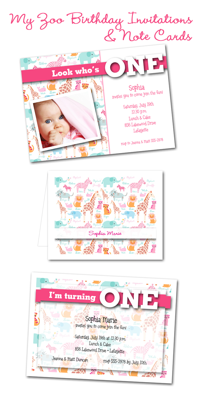 Pink My Zoo Girl's Birthday Party Invitations