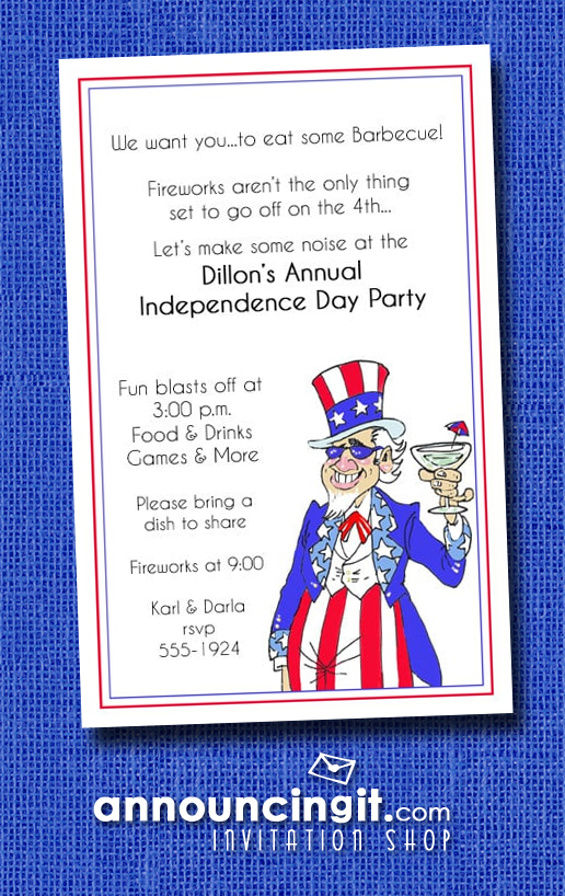 Uncle Sammy Patriotic Party Invitations at Announcingit.com