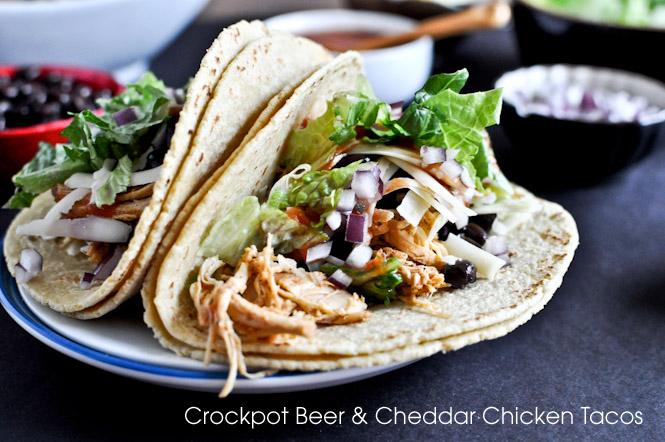 Crockpot Beer & Cheddar Chicken Tacos