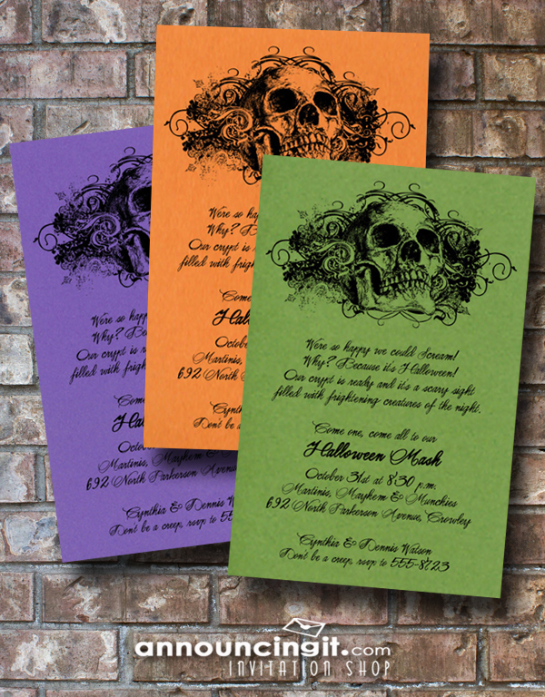 Skull Halloween Party Invitations and Ideas