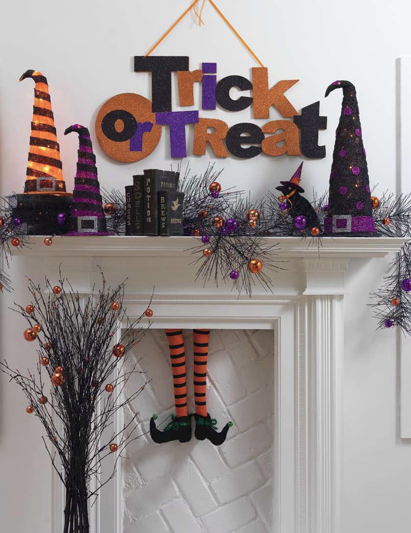 halloween fireplace with witch legs - Halloween Witch Decoration