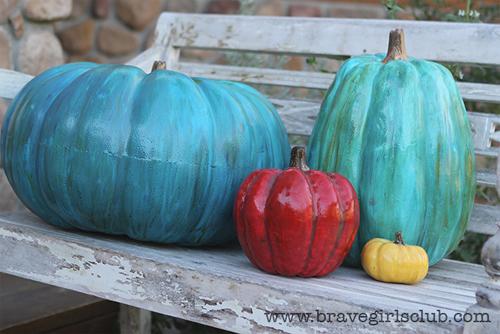 Halloween Painted Pumpkins: Turquoise Pumpkins