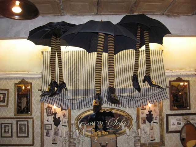 witch crash halloween decoration umbrella and witch legs - Halloween Witch Decoration
