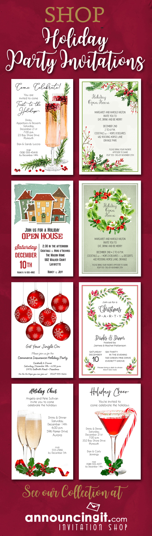 Shop Holiday Christmas Party Invitations at Announcingit.com
