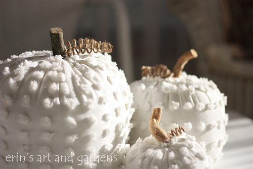 Vintage White Chenille Blanket Pumpkins