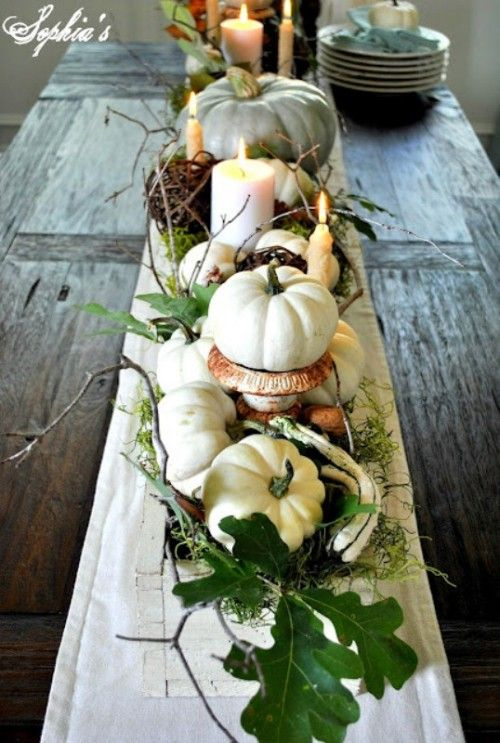 White Pumpkins Fall Table Centerpiece