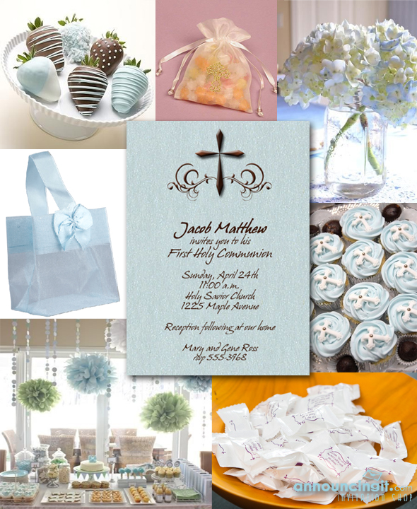 Blue and Brown First Communion Invitations and Party Ideas