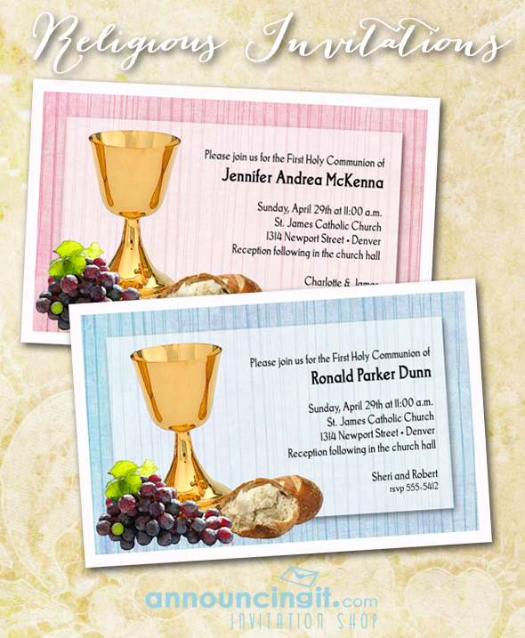 Chalice and Bread First Communion Invitations