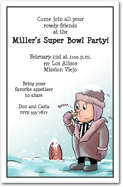 Frozen Referee Super Bowl Party Invitations