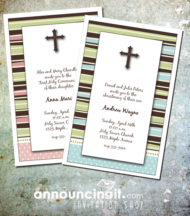 Brown Cross and Stripes First Communion Party Invitations