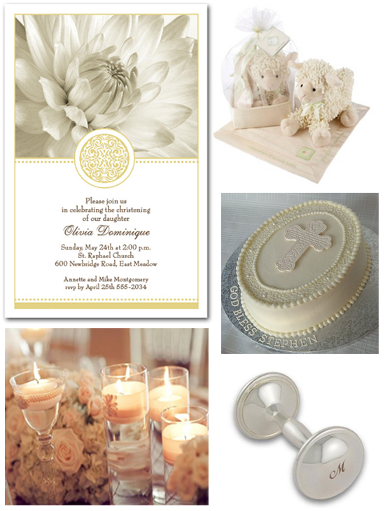 Golden Elegance Christening Invitations and Ideas