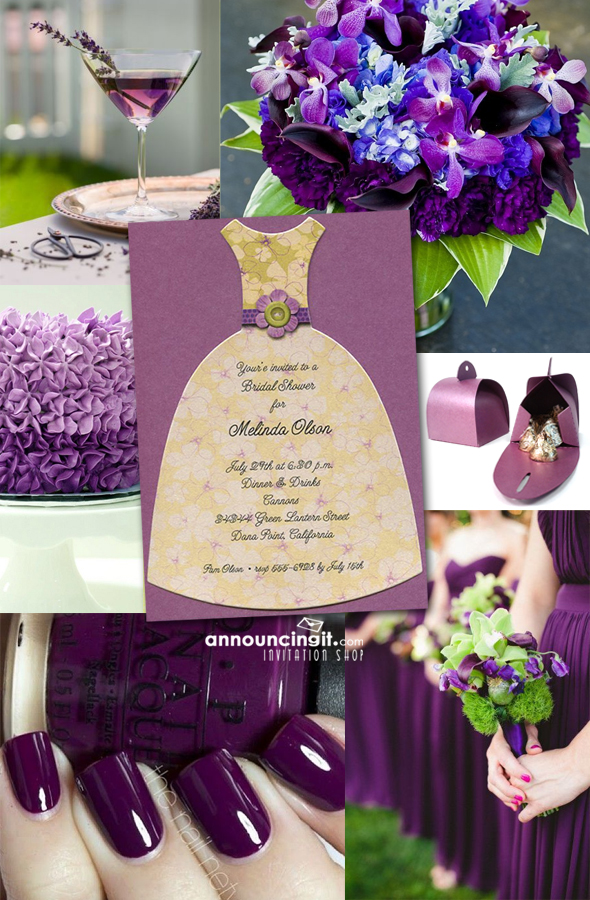 Purple Floral Diecut Dress Party Invitation Inspiration Board