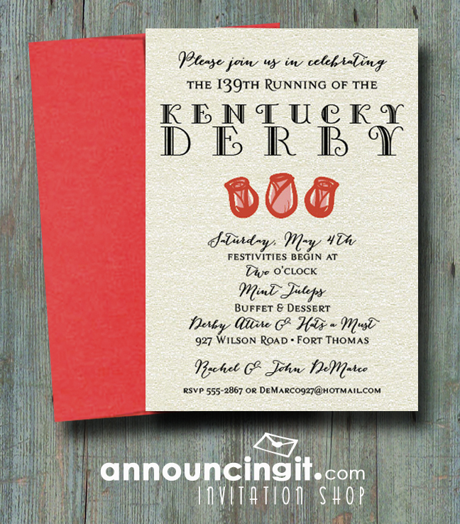 shimmery rose trio kentucky derby party invitations, Party invitations