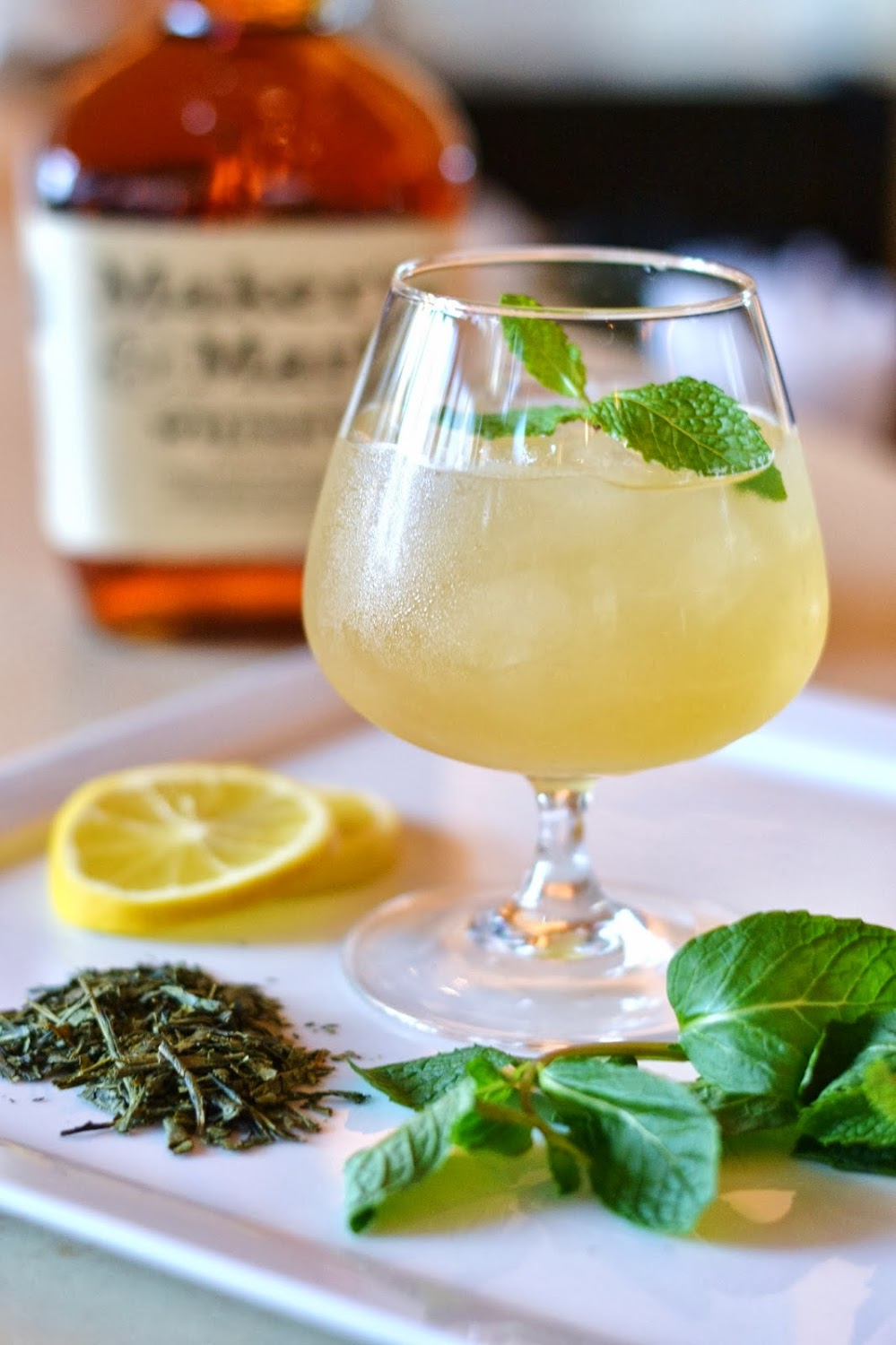 mardi gras bourbon green tea cocktail
