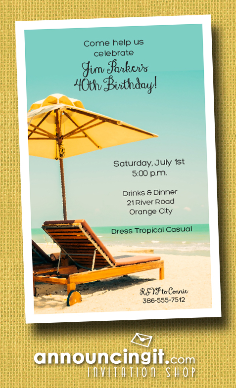 Beach Bed & Umbrella Summer Party Invitations | See the entire collection at Announcingit.com