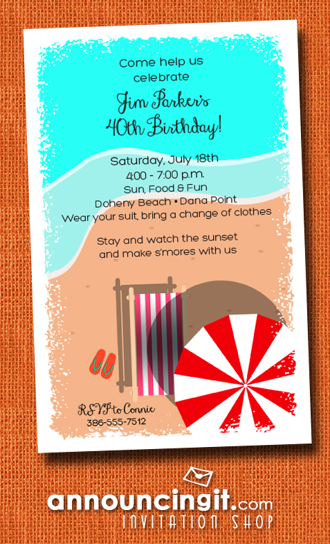 Chaise on the Beach Party Invitations | See our entire collection at Announcingit.com