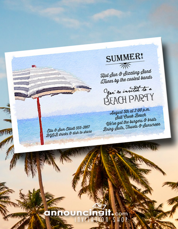 Striped Beach Umbrella Party Invitations | See the entire collection at Announcingit.com