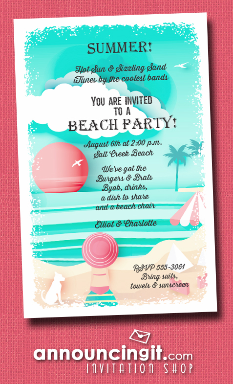View on the Beach Party Invitations | See our entire collection at Announcingit.com