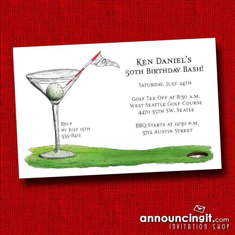 19th Hole Martini Golf Theme Party Invitations at Announcingit.com