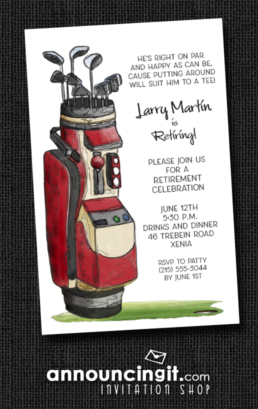 Red Golf Bag Party Invitations at Announcingit.com